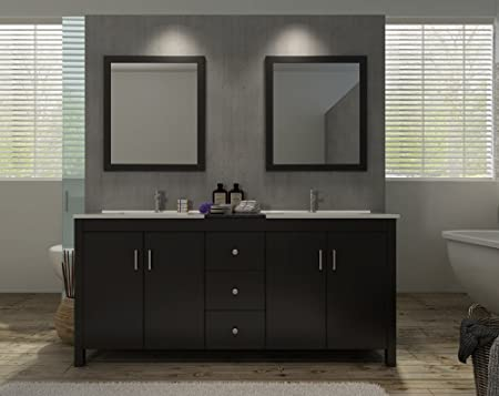 "Hanson 72"" Double Sink Vanity Set in Espresso"