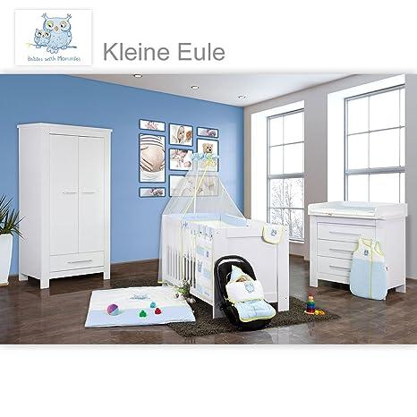 Babyzimmer Enni in weiss 20 tlg. mit 2 turigem Kl. + Textilien Kleine Eule, Blau