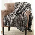 "Pinzon Faux Fur Throw Blanket 63"" x 87"", Frost Grey"