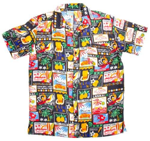ragstock-mens-tropical-hawaiian-palm-tree-collage-print-aloha-shirt-black-medium