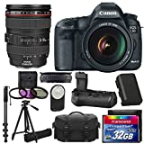 Canon EOS 5D Mark III 22.3 MP Full Frame CMOS with 1080p Full-HD Video Mode Digital SLR Camera Canon Zoom Wide Angle-Telephoto EF24-105mm IS f/4 L USM Lens Kit + UV Filter Kit With Extra Battery + Battery Grip + Tripod + Monopod with 32GB Card Complete Deluxe Accessory Bundle And Much More!