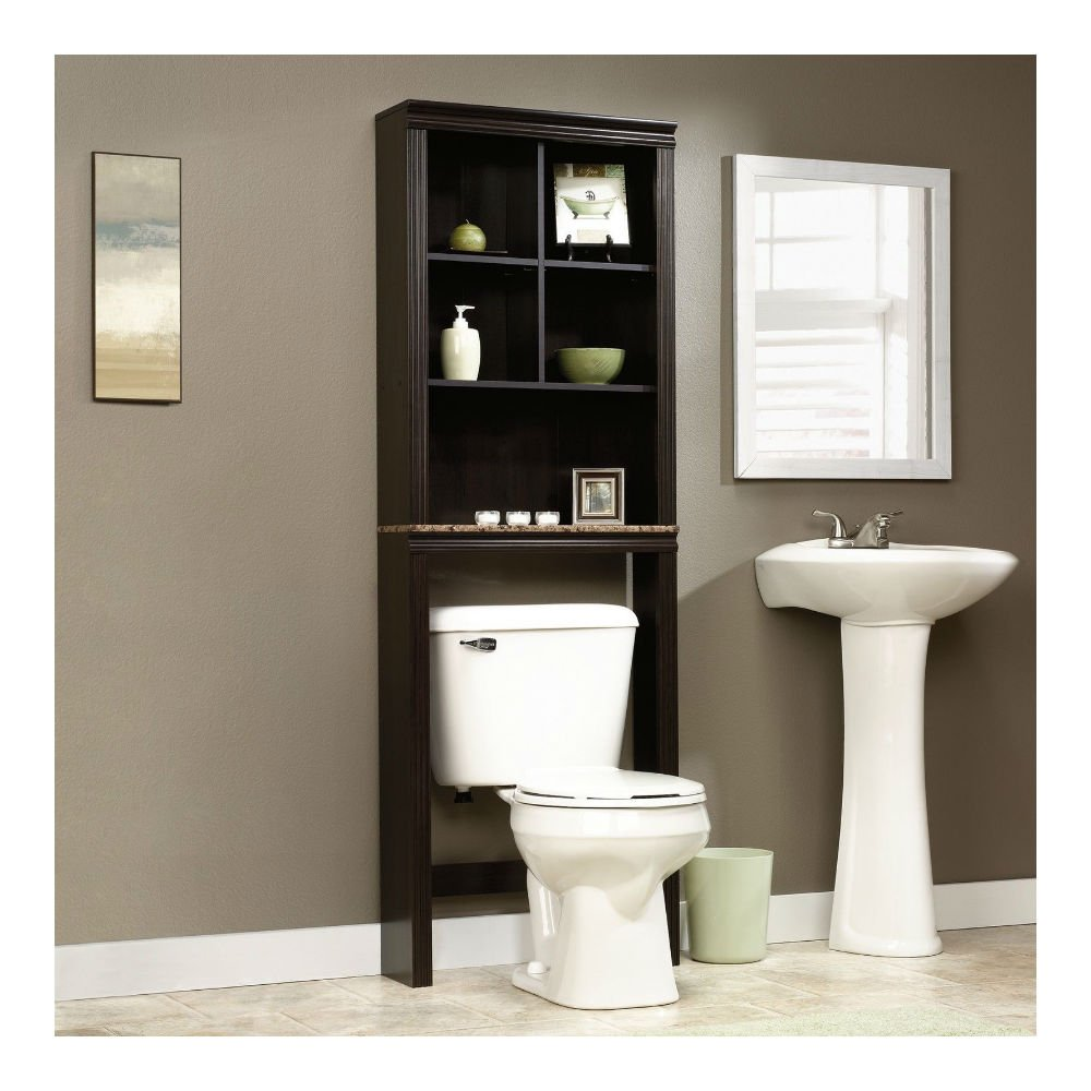 Sauder peppercorn etagere bath cabinet cinnamon cherry finish for Repisas para bano en home depot