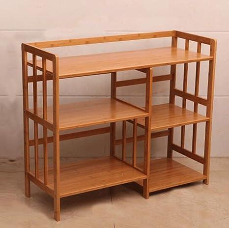 Bamboo Estante para microondas Estantería de madera maciza multifunción Estantería alargada Múltiples capas