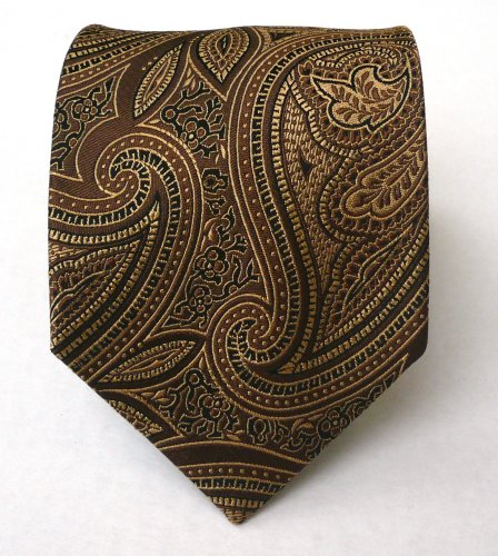 100% Silk Woven Brown Paisley Tie