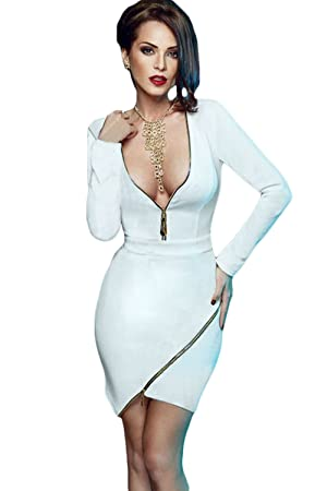 Plunging Neckline Long Sleeve Zip Detail Mini Club Dress