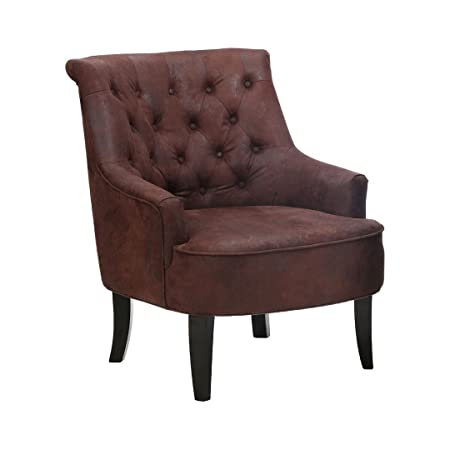 Protege Homeware Brown Leather Effect Hardwood/Birchwood Hertford Chair