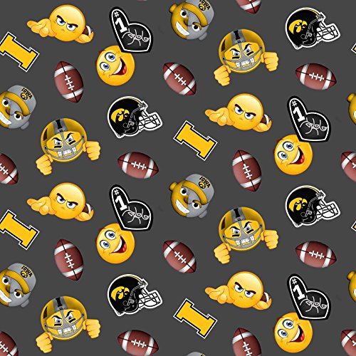 IOWA HAWKEYES FLEECE FABRIC WITH EMOJI'S-UNIVERSITY OF IOWA EMOJI FLEECE BLANKET FABRIC