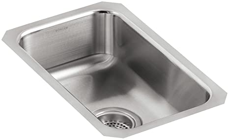 KOHLER K-3333-NA Undertone Small Squared Undercounter Kitchen Sink, Stainless Steel