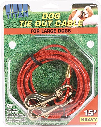 Artikelbild: CABLE DOG TIE-OUT 15.Pets like to explore the outdoors just like people. So as a pet owner you want a strong, dependable cable to assure your pet's safety while outside. Our cable tie-outs are weather resistant. Coastal tie-outs come in a variety of lengths and thickness to fit all of your cable tie-out needs. Titan cable tie outs and aerial dog runs are manufactured using durable hardware and strigent quality control to assure every tie out offers superior strength.