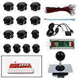 SJJX DIY Arcade Game Button and Joysticks Controller Kits for Rapsberry Pi and Windows XBOX PS3 PS2 Android Tablet mobile phone TV Box,4/8 Way Joystick and 11 Red Push Buttons (Color: black)