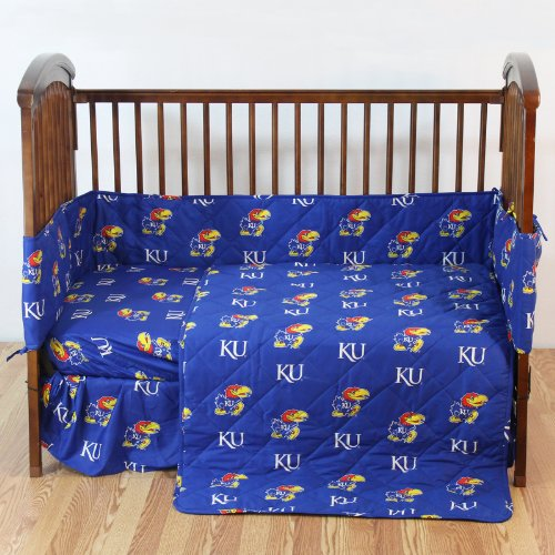 """Kansas Jayhawks 5 Piece Crib Set And Set Of Two (2) Matching Window Valance/Drape Sets (Drape Length 63"""") - Entire Set Includes: (1) Reversible Comforter, (1) Bed Skirt , (2) Fitted Sheets, (1) Bumper Pad And (2) Matching Window Valance/Drape Sets To Deco front-1070654"""