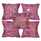 Traditional Indian Decorative Cotton Cushion Cover Adorn With Embroidery & Patchwork 16 X 16 Inches