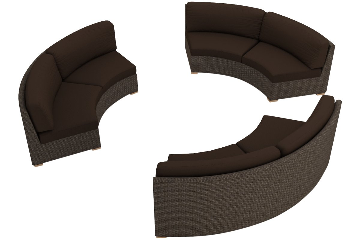 Harmonia Living 3 Piece Arden Curved Sectional Cushion Set - Spectrum Coffee