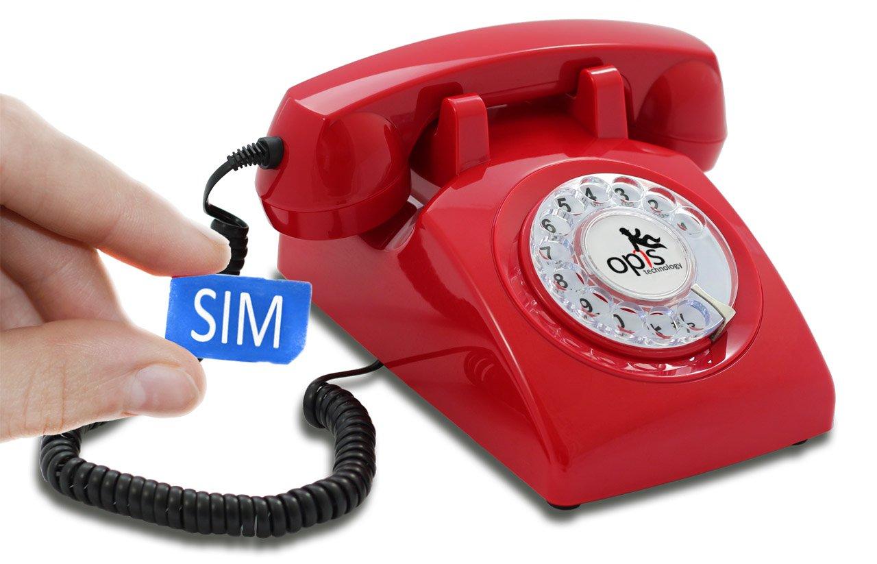 Opis 60s mobile  Retro Tischhandy in Form eines sechziger Jahre Telefons mit Wählscheibe und Metallklingel (rot)  Überprüfung und Beschreibung