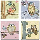 Pastel Owl Set- Decorative poster prints by Paul Brent, 8x8, set of four