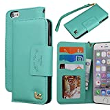 iPhone 6 Case,(4.7)By HiLDA,Wallet Case,PU Leather Case,Credit Card Holder,Flip Cover Skin[PureGreen]