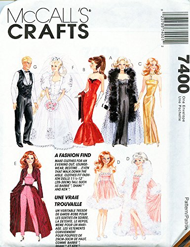 McCall's 7400 Vintage 90s Sewing Pattern Fashion Dolls like Barbie & Ken (Sewing Patterns Barbie compare prices)