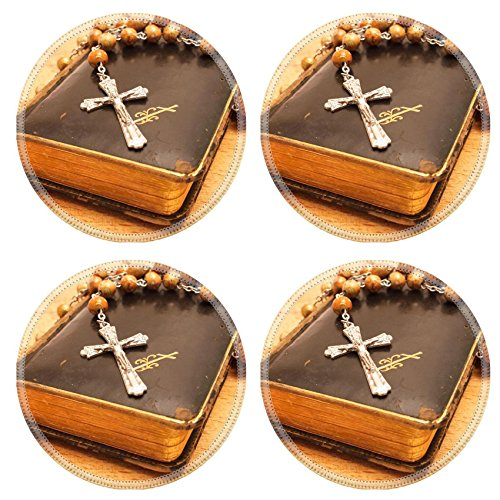 MSD Natural Rubber Round Coasters IMAGE ID: 30764913 Crucifix and Old worn Prayer book on the wooden board
