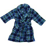 Navy and Green Plaid Plush Bath Robe for Toddler Boys