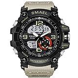 RELOJ KXAITO PARA HOMBRES - Deportes al aire libre impermeable Reloj militar Fecha Tácticas multifunción LED Alarma Cronómetro (05_Beige2)