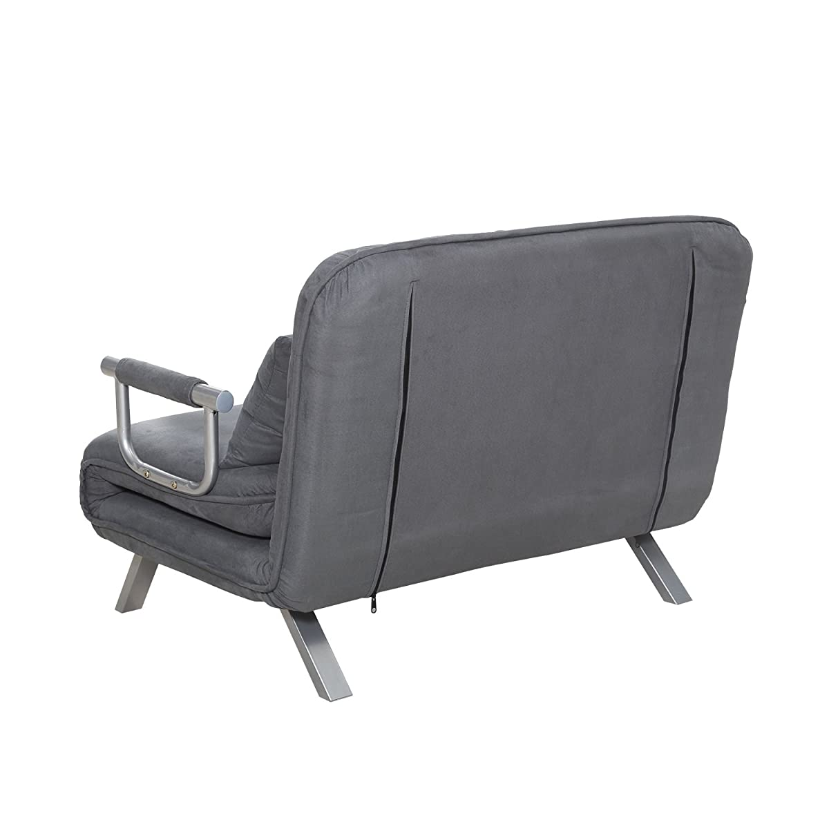 HomCom Twin Size Folding 5 Position Steel Convertible Sleeper Bed Chair - Grey