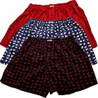 Pack Three Underwear Thai Silk Blend Boxer Shorts with Elephants Stripes (Size L : 28-30 Inches)