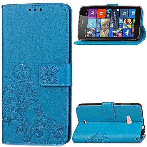 custodia-nokia-lumia-535-cover-blu-cozy-hut-retro-matte-retro-lucky-clover-modello-design-con-cintur