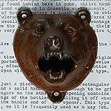 Tozz Pro ® Iron Bear Teeth Wall Mount Bottle Opener and Cap Catcher Set (Brown)