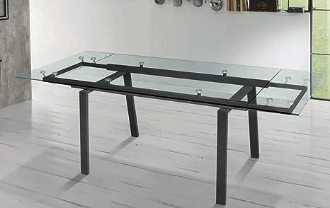 Zamagna - Tavolo allungabile Chat Zamagna - Struttura: Metallo laccato antracite RAL7043 - Piana e allunghe: Vetro trasparente