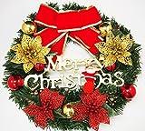 クリスマス リース 飾り 緑 約30cm リボン 金 鈴 ベル 華やかなリース リビング パーティー lease