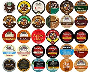30-count Assorted Coffee, Tea, Cider, Cappuccino & hot chocolate/cocoa Single Serve Cups For Keurig K Cup Brewers Variety Pack Sampler