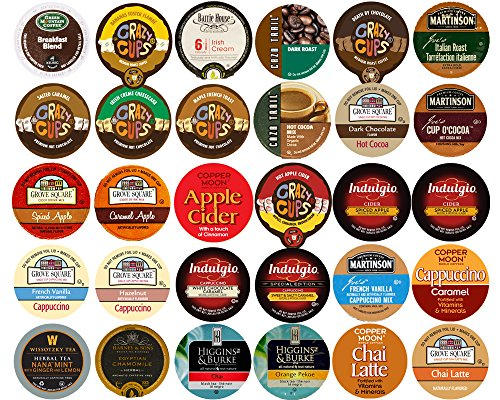 60-count Top Brand Coffee, Tea, Cider, Hot Cocoa and Cappuccino K-Cup Variety Sampler Pack, Single-Serve Cups for Keurig Brewers (White Mocha Keurig Cups compare prices)