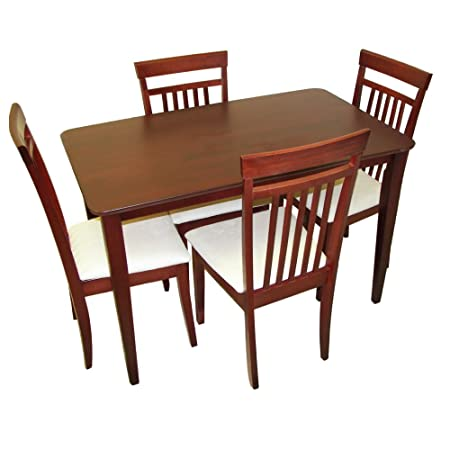 Home Source Industries PORTLAND DINETTE MHG 5-Piece Dinette with Hardwood Table and 4 Chairs, Mahogany