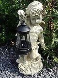 SSITG Deko Figur Engel mit LED Solar Laterne Statue Gartenfigur