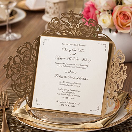 Wishmade 50pcs Gold Laser Cut Wedding Invitations Cards Kit With Hollow Flora Square Lace Card For Marriage Engagement Baby Shower Birthday Party Supplies and Envelopes Seals (Set of 50pcs)
