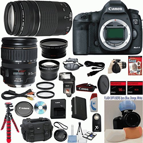 Canon EOS 5D Mark III 22.3 MP Full Frame CMOS Digital SLR Camera w/ Canon 28-135mm IS USM Lens Celltime Exclusive Bundle w/ Canon 75-300mm III Zoom Lens + 15pc Accessory Kit - International Version (5d Mark Ii Rig compare prices)