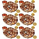 Prisha India Craft ® Set Of 6 Traditional Indian Dinnerware Pure Copper Dinner Set Of Thali Plate, Bowl, Spoon...