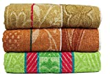 Casa Basics 400 GSM Set Of 3 Jacquard Large Bath Towels 68 X 137 cm- Green & Brown