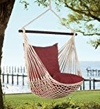 Woven Hammock Swing with Bracing Rod and Set of 2 Pillows, in Chocolate Stripe