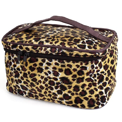 Brown Beige Leopard Printed Cosmetic Bag Make Up Pouch Bag for Women