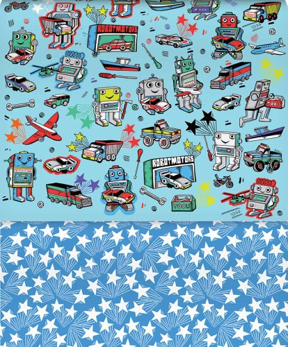 Robots and Remote Control Cars and Trucks Reversible Rolled Gift Wrapping Paper Like Clockwork (Robot Wrapping Paper compare prices)