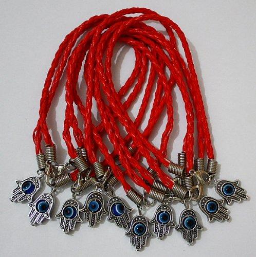 10 X Leather Hamsa Shamballa Friendship Bracelet Evil Eye Charm Kabbalah Hand Of Fatima Red Silver Pendant