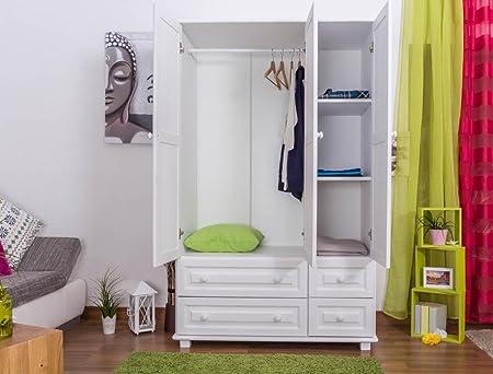 Landhaus-Stil Kiefer-Kleiderschrank, Farbe: Weiß 190x120x60 cm