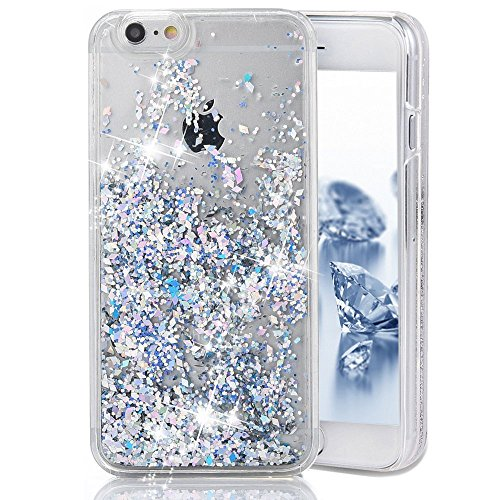 iPhone 5C Case,iPhone 5C Cover,Liquid Case for iPhone 5C,Phezen 3D Creative Design Shiny Quicksand Moving Bling Glitter Sparkle Love Heart Flowing Clear Hard Case for iPhone 5C - Silver Diamond (Iphone 5c Protective Glitter Case compare prices)