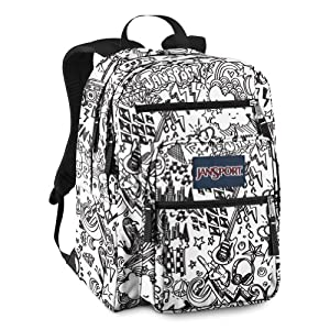 JanSport Big Student Classics Series Daypack, Black/White Doodle