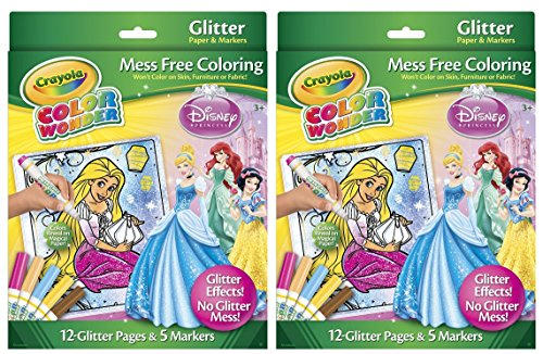 Crayola Color Wonder Disney Princess Glitter Paper and Markers (2 Pack)