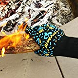BlueFire Oven Mitts, BBQ Gloves - Great for Kitchen, Grill, Big Green Egg & Fireplace Accessories. Cut Resistant, Forearm Protection -100% Kevlar 932°F Heat Resistance.