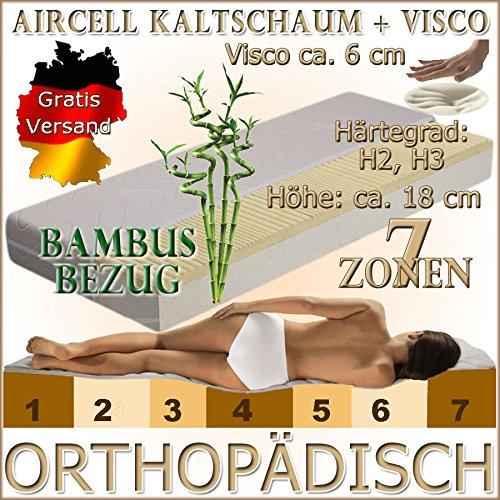 MF10+6 Orthopädische 7 Zonen 60x120 cm Visco (RG 50) 6 cm + Kaltschaum (RG 30) Matratze, H3, mit Baumwoll-Bezug, Höhe ca. 18 cm, für Allergiker und verstellbaren Lattenrost geeignet