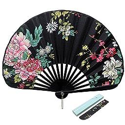 Jsswb Handmade Black Shell Shaped Folding Fan with Windflower