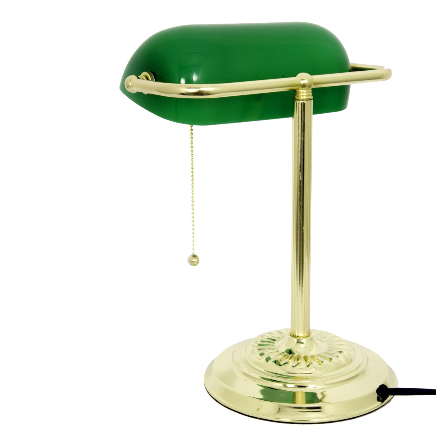 nice bankers light desk lamp with opaque green glass shade. Black Bedroom Furniture Sets. Home Design Ideas